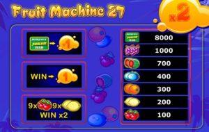 fruit machine 27 tabela wypłat