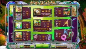 alice in wonderland online tabela