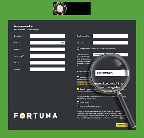 rejestracja fortuna kod promocyjny